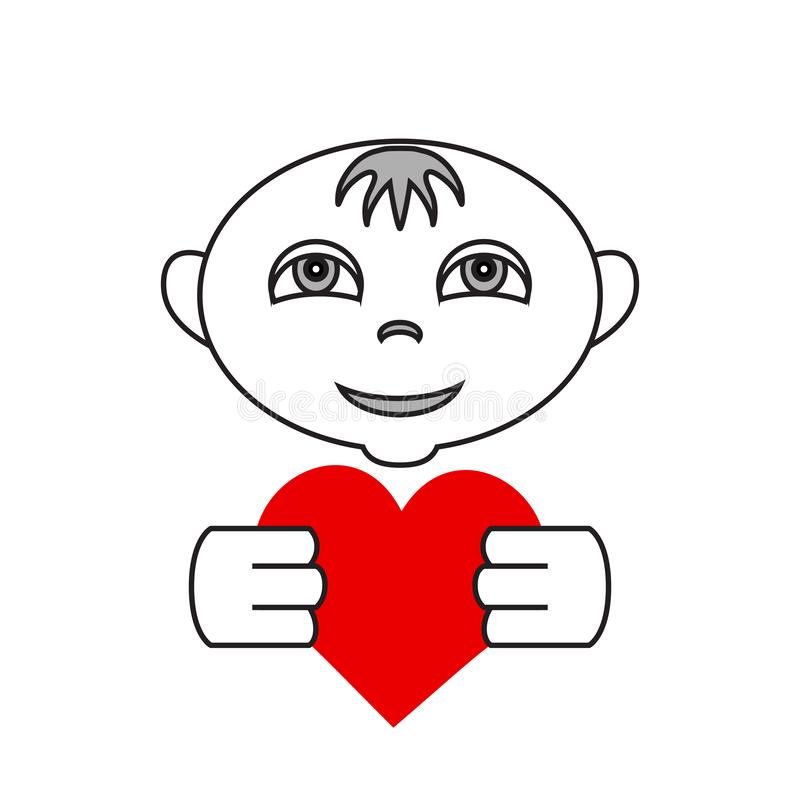 Vector simple flat kid logo with heart in hands vector illustration