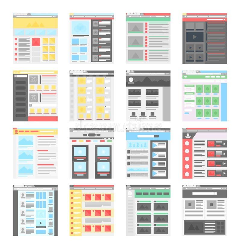 Vector simple flat website design templates icons set. Vector simple flat website design templates icons set vector illustration