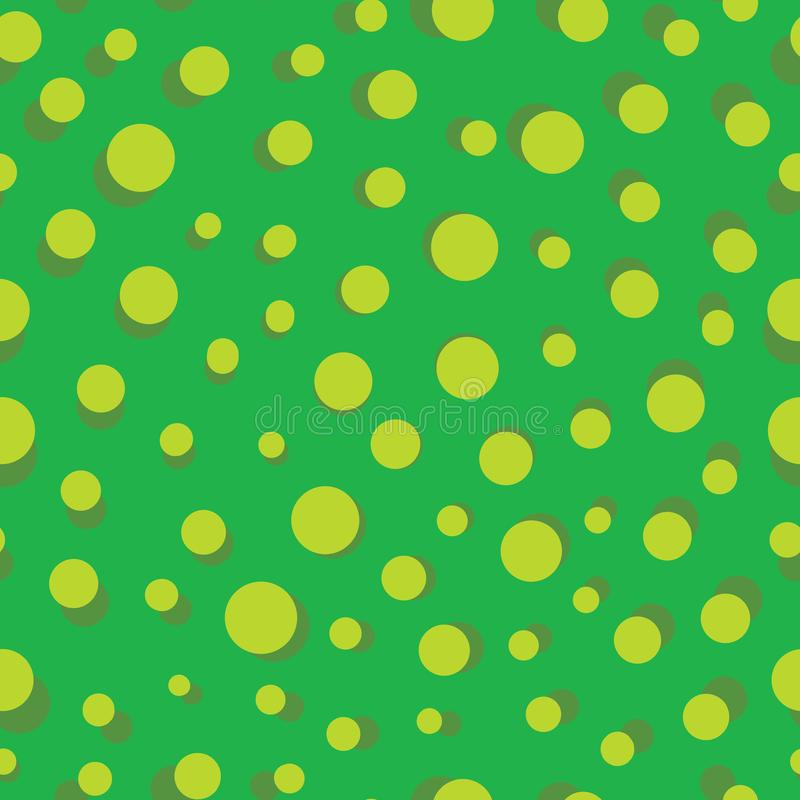 Vector simple green polka dots seamless pattern. Background. Perfect use for fabric, wrapping paper, stationery, packaging projects etc stock illustration