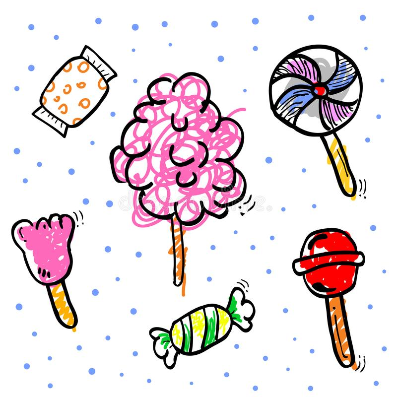5 simple hand draw, scribble fill color, blue pink, brown, gray, yellow, green sketch of candy stock illustration