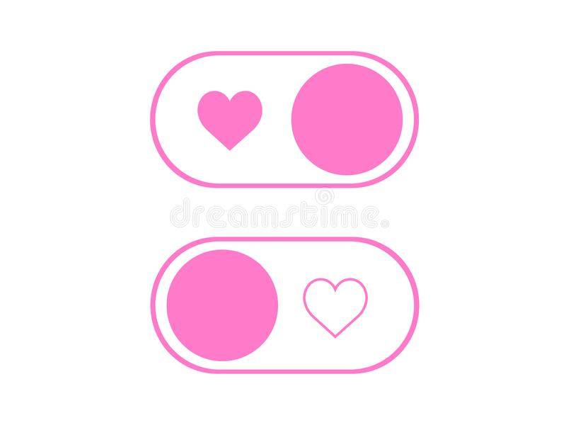 Vector Simple Heart Icon On And Off Toggle Switch Button Stock ...