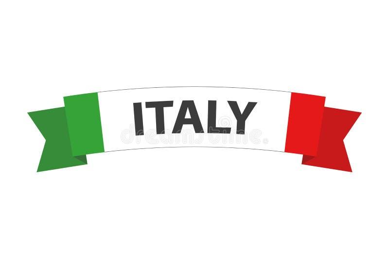 Vector simple hecho en el símbolo de Italia, cinta italiana coloreada con la bandera italiana tricolora, abstracta italiana ilustración del vector