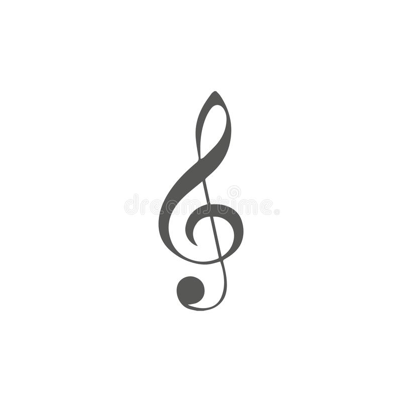 Vector simple icon for music theme. Illustration of treble clef on white background with blur shadow. Elements for design. Black, vector illustration