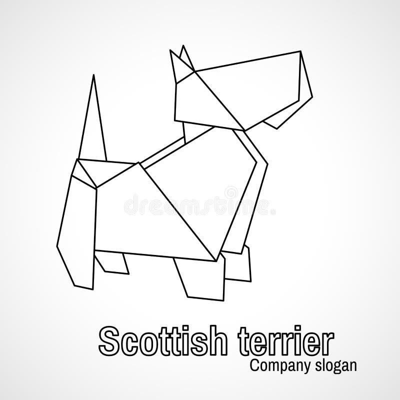 Illustration of outline origami dog terrier vector illustration