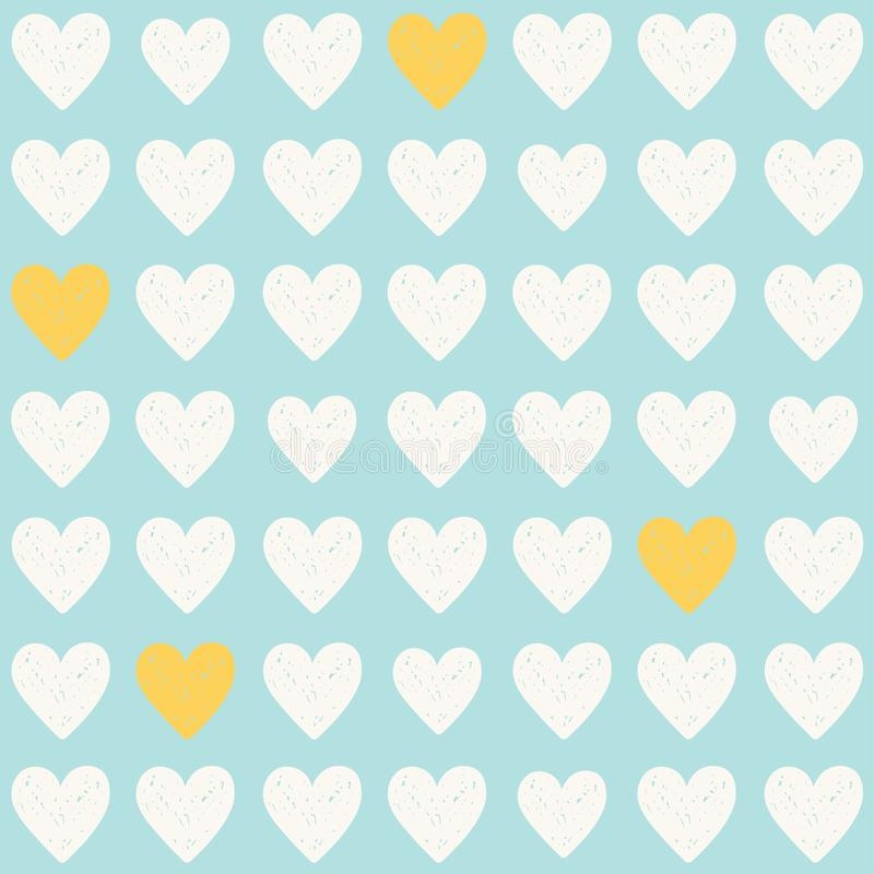 Vector simple light blue seamless pattern with white and yellow hearts royalty free stock photography