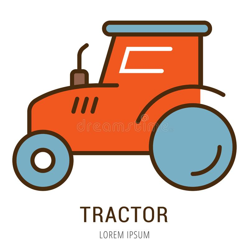 Vector Simple Logo Template Tractor stock illustration