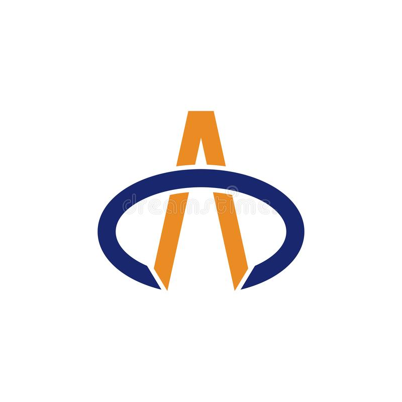Vector simple oval abstracto del logotipo de la letra A Swoosh stock de ilustración