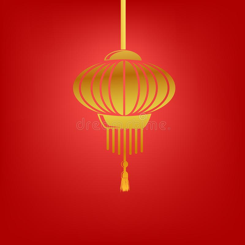 Vector Simple Shinning Golden Icon Chinese lantern at Gradual Red Background vector illustration