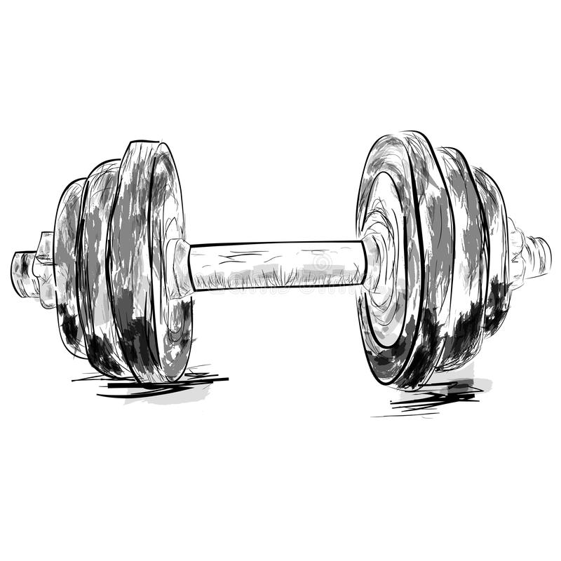 Simple Sketch of dumbbell, with watercolor effect royalty free illustration