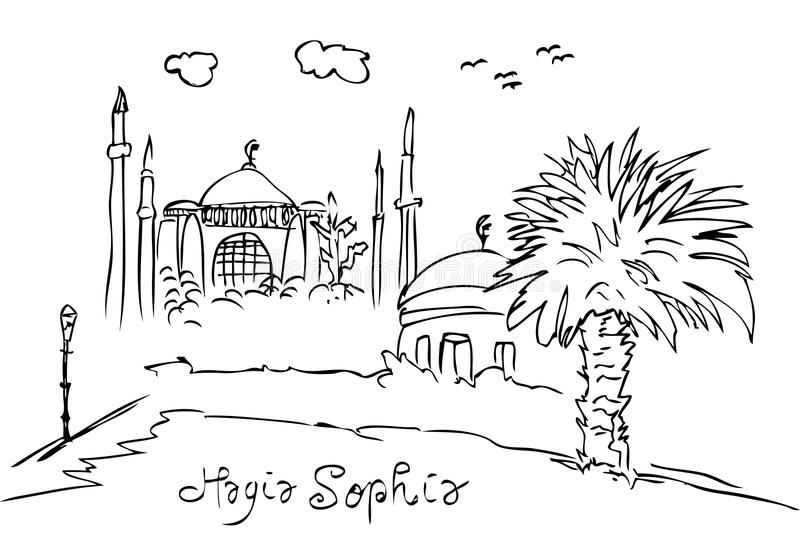Simple sketchy hagia sofia historical building, istambul turkey eye level view. Vector simple sketchy hagia sofia historical building, istambul turkey eye level vector illustration