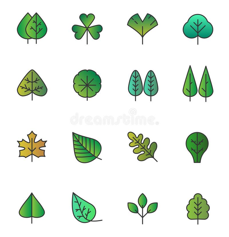 Vector Simple tree leaves icons isolated. Green yellow foliage, stylized herbs collection in trendy hand drawn flat vector illustration