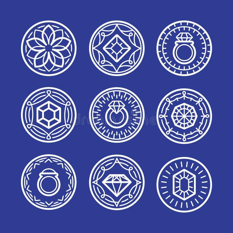 Vector sinais e emblemas da joia no estilo do esboço ilustração do vetor