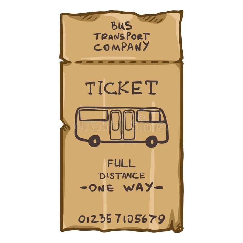 Vector Cartoon Brown Bus Travel Card. Public Transportation Ticket vector illustration