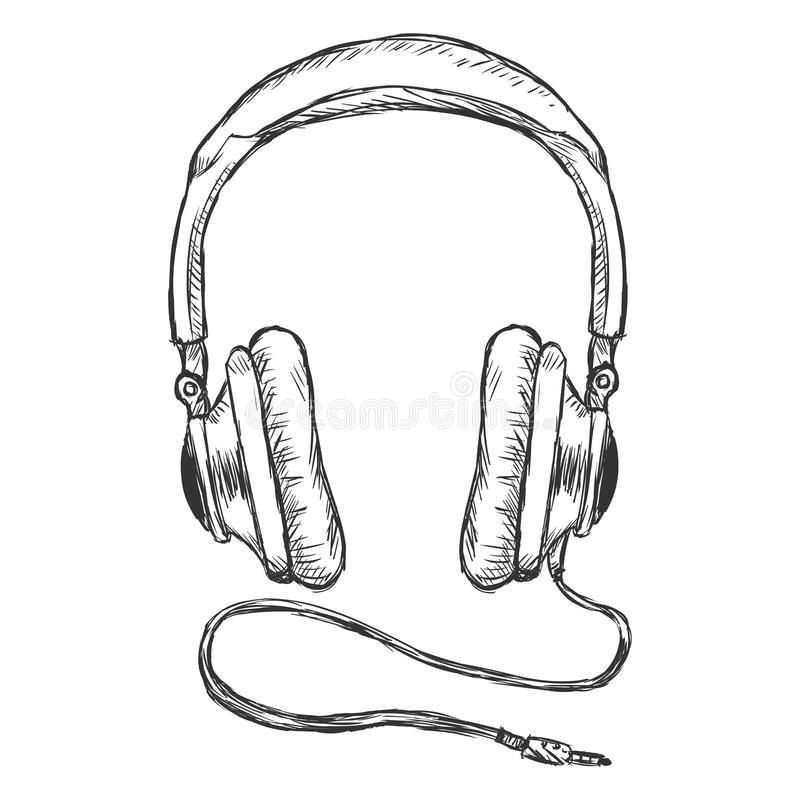 vector single sketch circumaural headphones with wire stock illustration