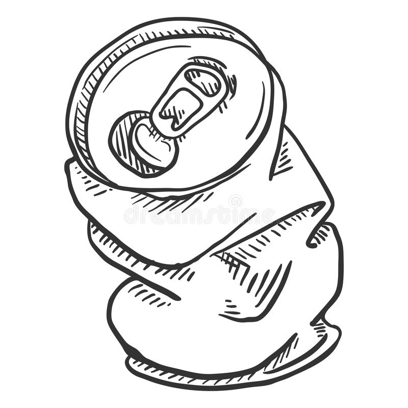 Vector Single Sketch Crumpled Beer Can stock illustration
