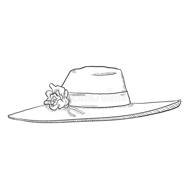 Vector Single Sketch Elegance Women Hat vector illustration