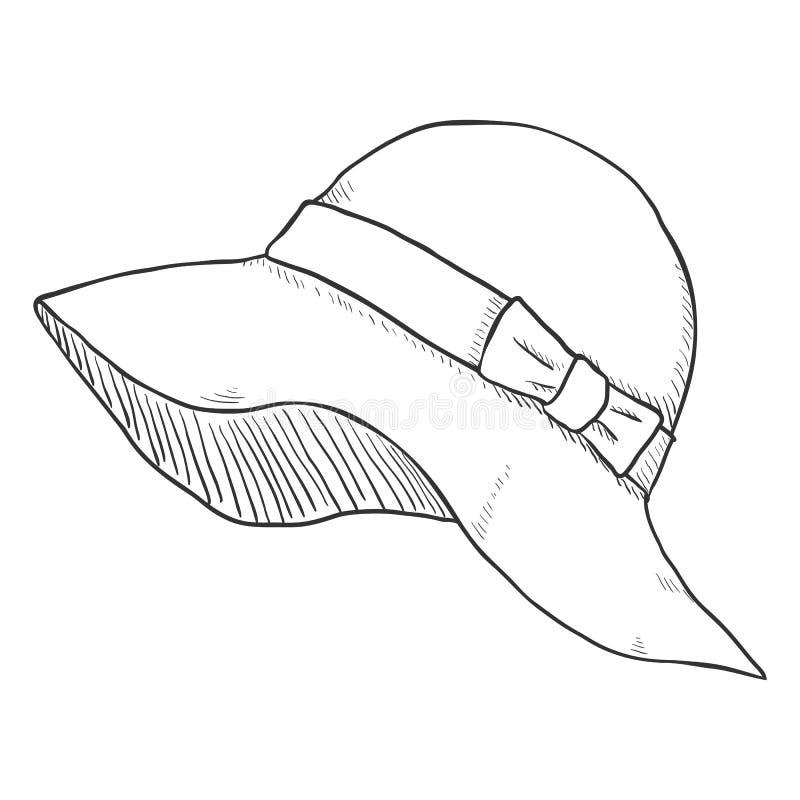 Vector Single Sketch Elegance Women Hat. On White Background royalty free illustration