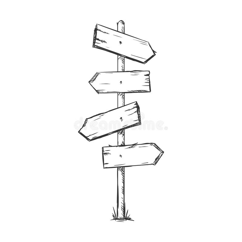 Vector Single Sketch Signpost. On White Background vector illustration