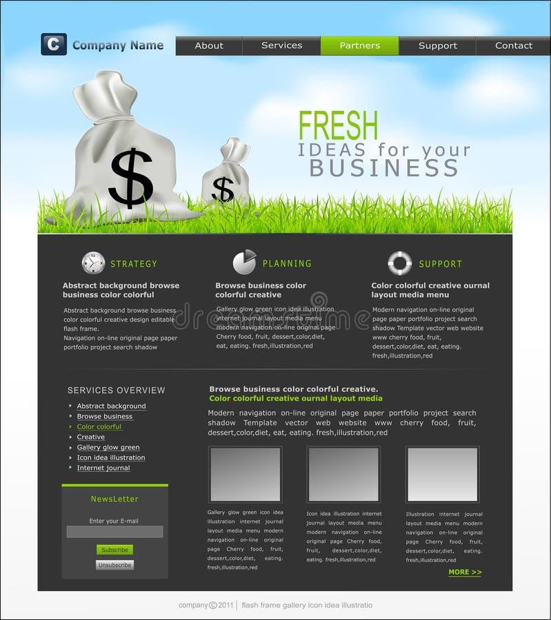 Vector Site mit einem Beutel der Dollar für Geschäft stock abbildung