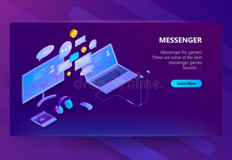 Vector site template for messenger, online chat. Vector 3d isometric template of site for messenger. Online chat business, development. Social service on laptop stock illustration