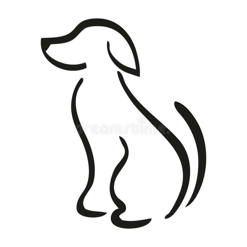 Vector of sitting dog on white background. Illustration of a sitting dog in line art style royalty free illustration