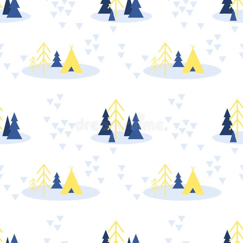 Vector Skandinavisch naadloos patroon van van de winterbos die met spar, pijnboombomen en tent kamperen royalty-vrije illustratie