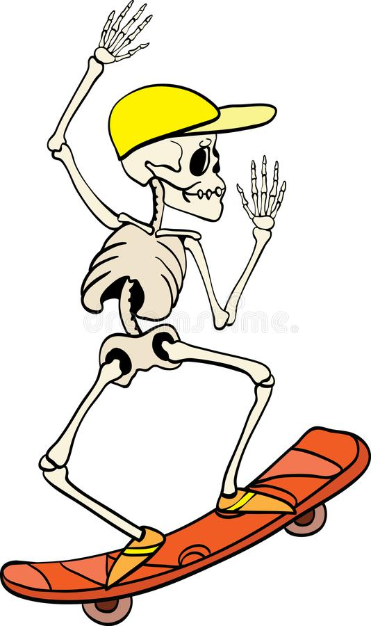 Vector skeleton riding a skateboard Haloween design element illustration. Great for spooky fun party themed gifts stock illustration