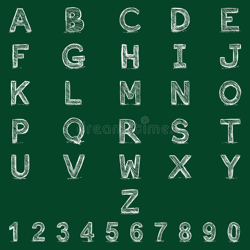 Vector Sketch Alphabet with Numbers. royalty free illustration