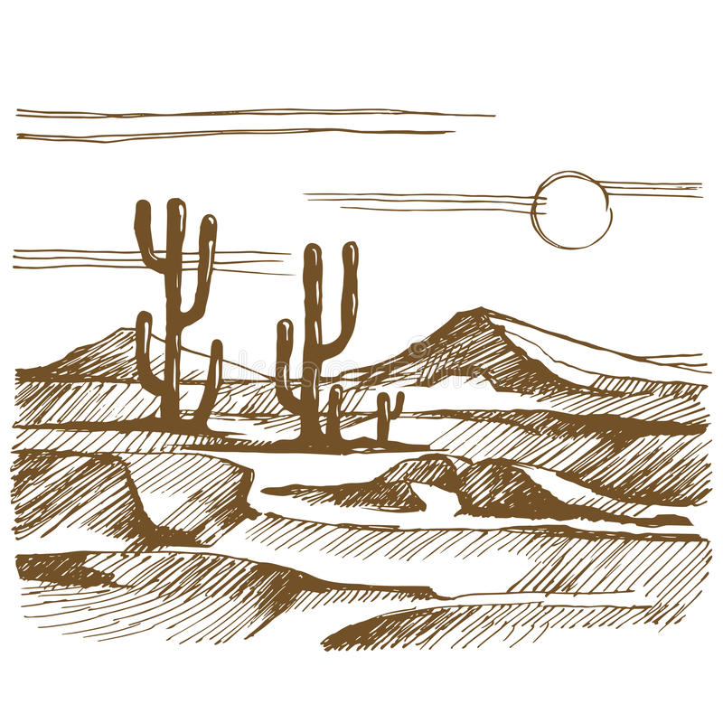 Vector sketch America landscape with cactus. Vector sketch America. Landscape with cactus on the background of mountains stock illustration