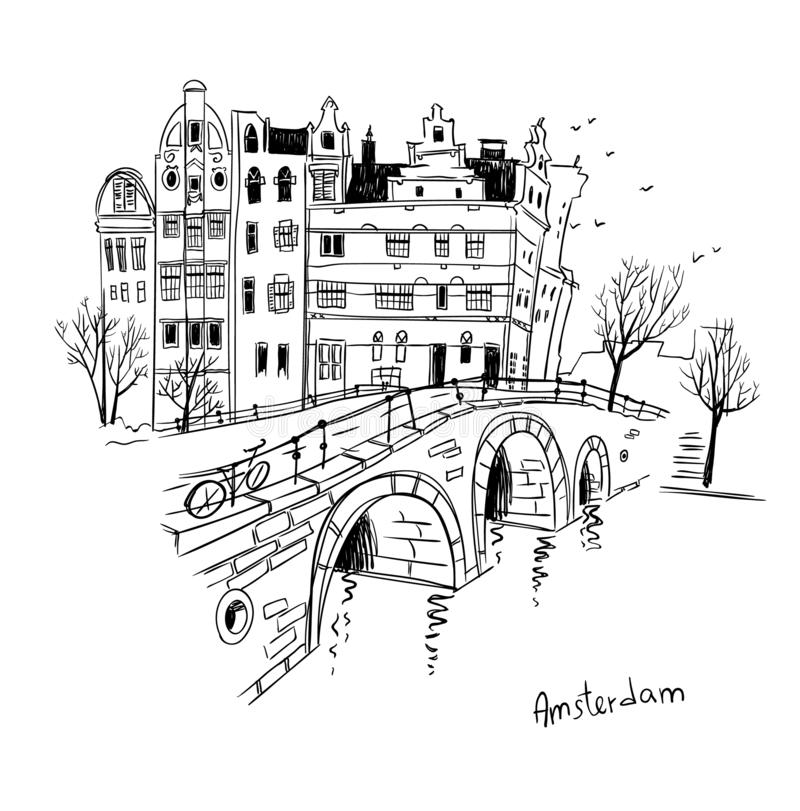 Vector sketch of Amsterdam city. Line drawing.  vector illustration