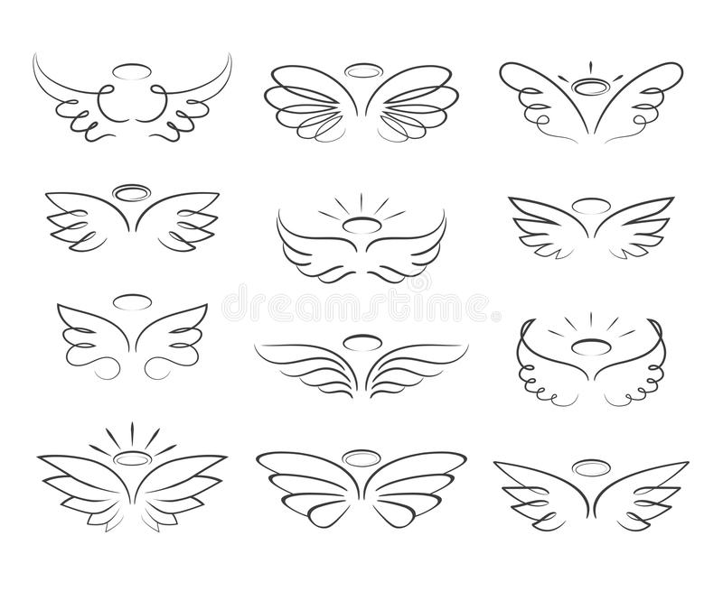 Vector sketch angel wings in cartoon style isolated on white background royalty free illustration