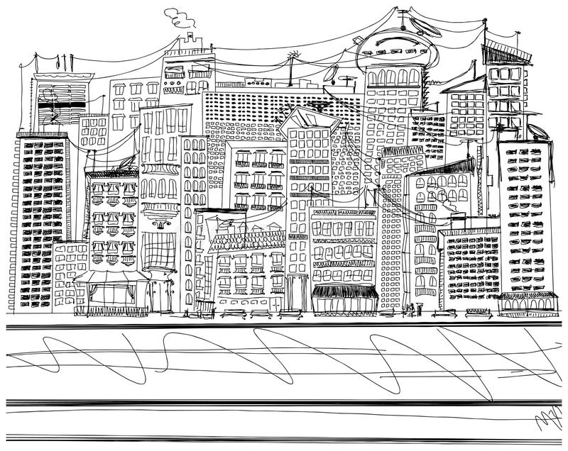 Vector Sketch background with city vector illustration