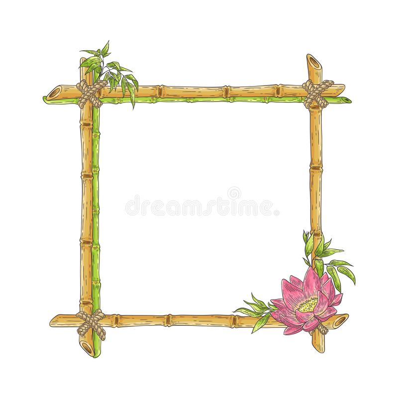 Vector sketch bamboo frame with lotus flower stock illustration