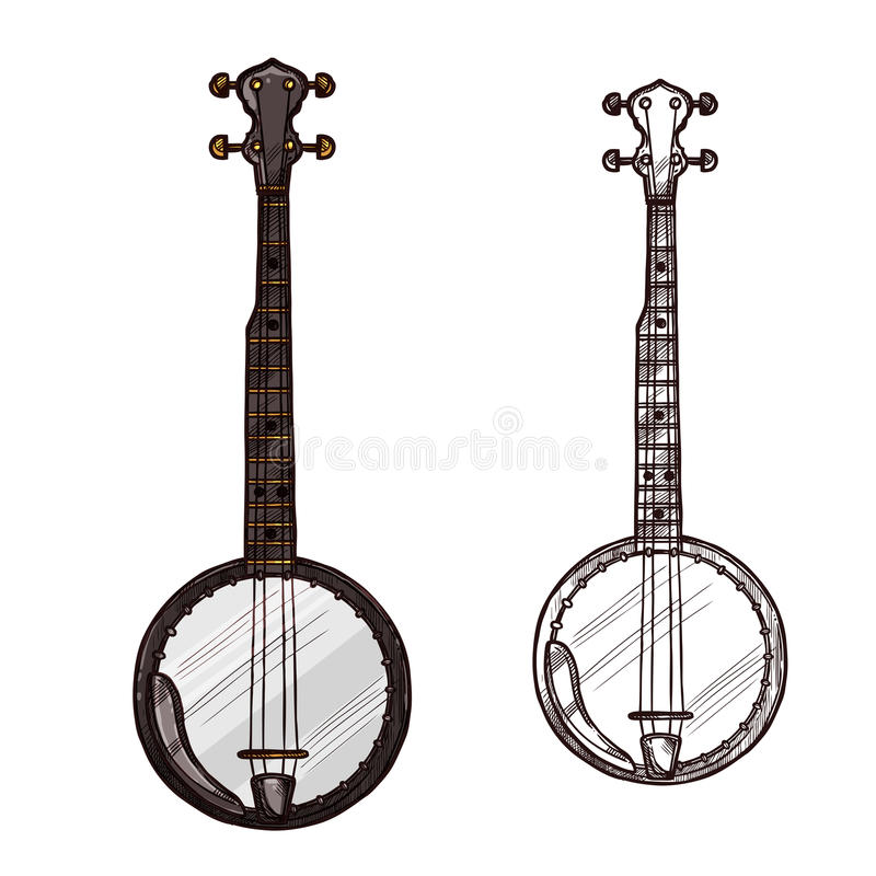 Vector sketch banjo guitar musical instrument stock illustration