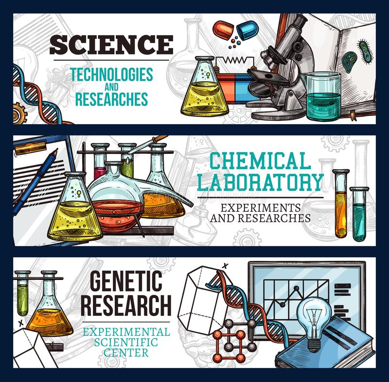 Vector sketch banners for science and research vector illustration