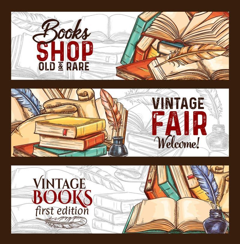 Vector sketch banners vintage books shop fair. Bookshop or vintage rare books fair sketch banners. Vector old vintage literature books and retro writing vector illustration