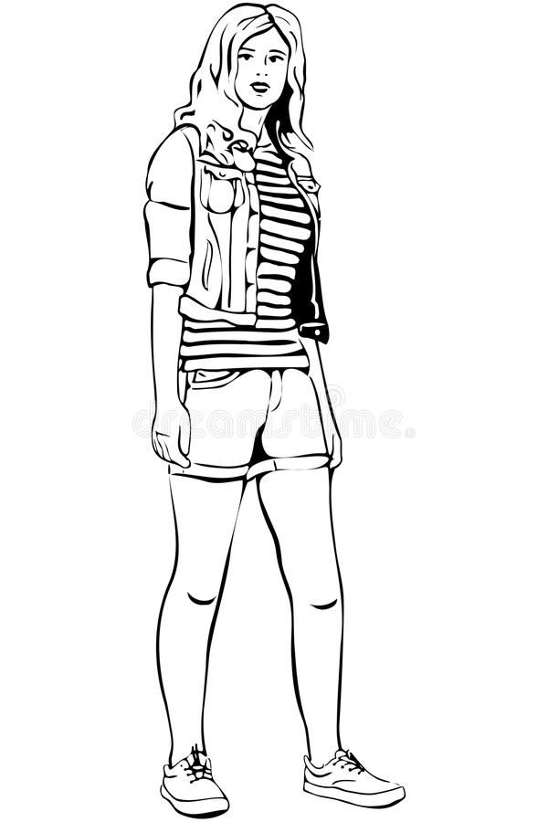 Vector sketch of a beautiful blonde in shorts vector illustration