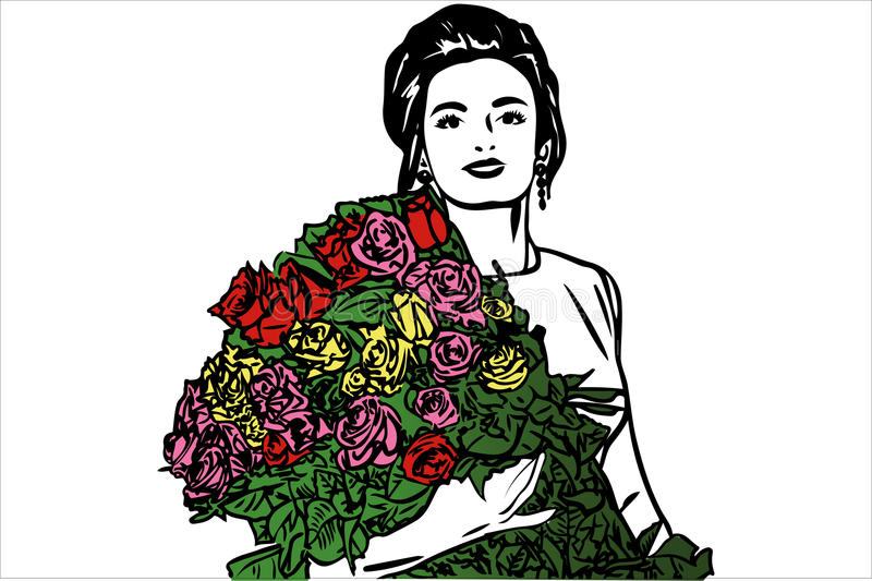 Vector sketch of a beautiful girl with a bouquet of roses royalty free illustration