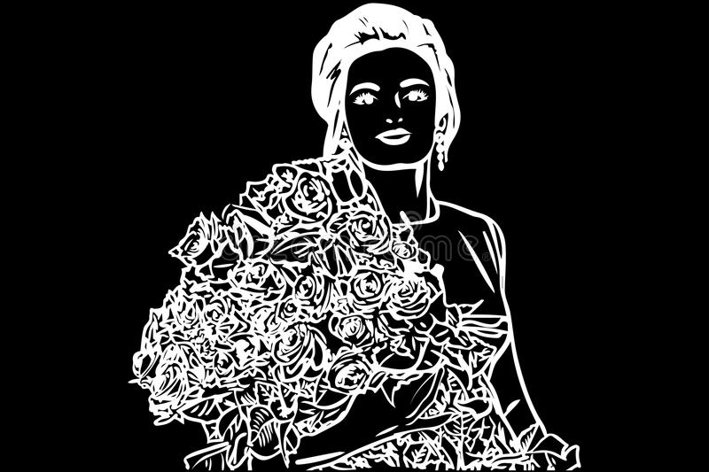 Vector sketch of a beautiful girl with a bouquet of roses stock illustration