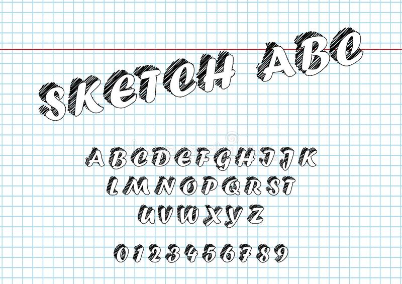 Vector of Sketch bold font and alphabet Hand Drawn Sketch. royalty free illustration