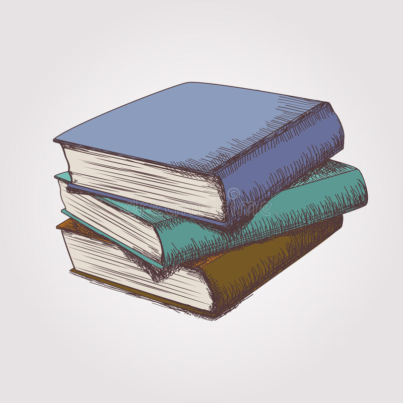 Vector sketch of books stack royalty free illustration
