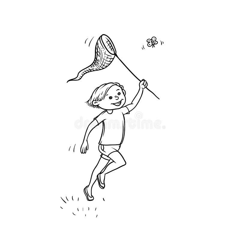 Free Vector Sketch Boy Run Net To Catch Butterflies. Active Play Children Teenager Walk In Summer On Outdoor Sun Shining Stock Photos - 114032793