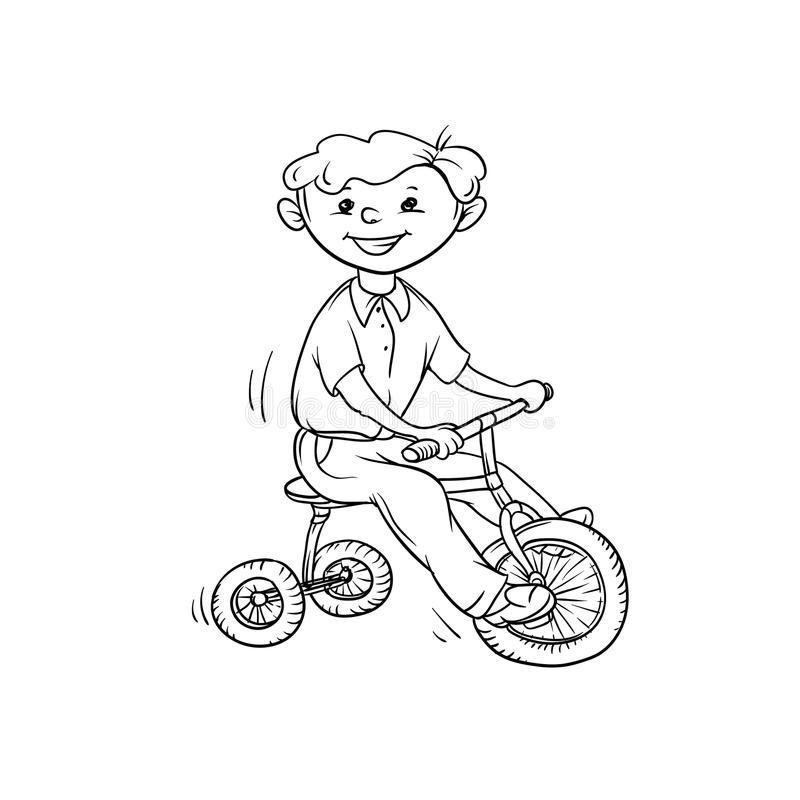 Vector sketch boy on tricycle. Little child play sports. Active walk in summer on outdoor. Cartoon black white isolated stock illustration