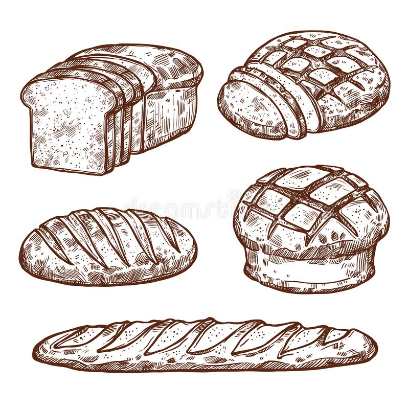 Vector sketch bread icons of bakery shop stock illustration