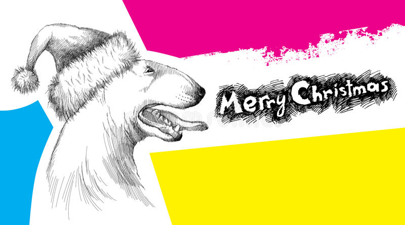 Vector sketch of Bull terrier or Bullterrier dog head profile in Santa hat with open mouth on psychedelic background. Christmas and New Year elements in sketch vector illustration