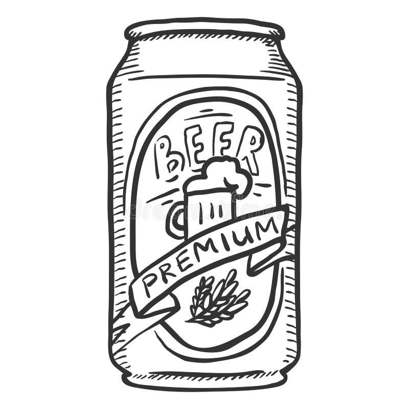Vector Sketch Can of Premium Beer stock illustration