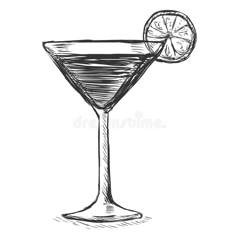 Vector Sketch Cocktail with Lime. On White Background royalty free illustration