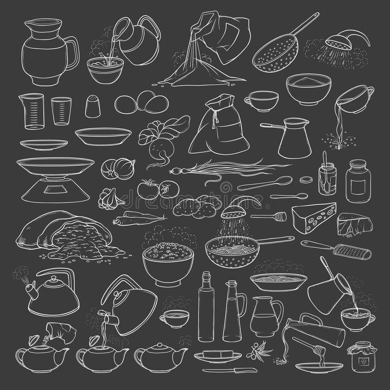 Free Vector Sketch Collection Set Chalk On Blackboard Food Products, Beverages And Kitchen Utensils. Brew Tea And Coffee Stock Images - 97247374