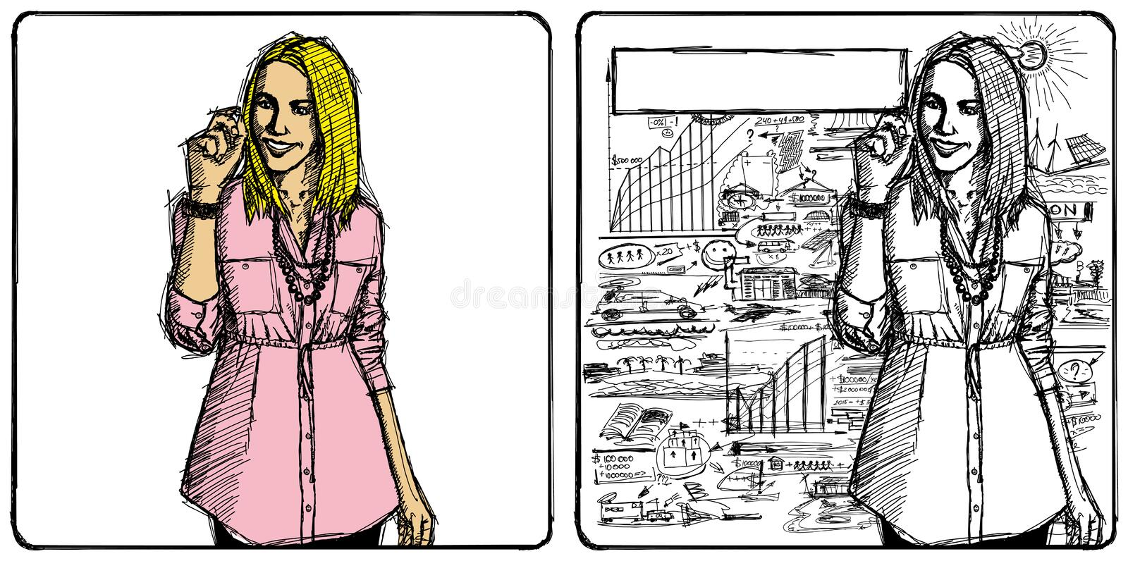 Vector Sketch Business Woman royalty free illustration