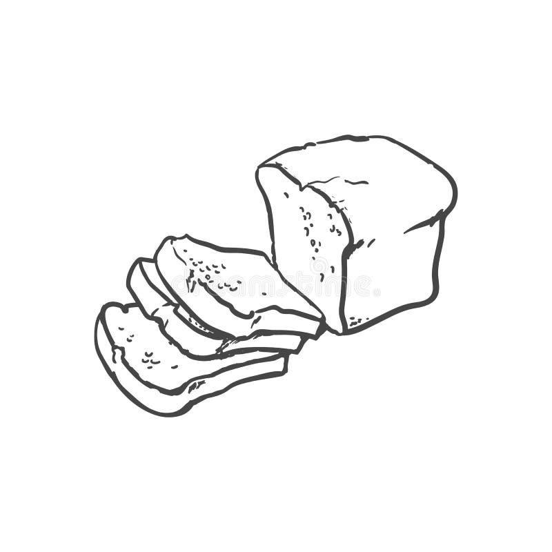 Vector sketch dark brown sliced bread royalty free illustration